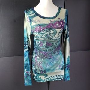 NWOT KAREN KANE abstract paisley blouse. XL.